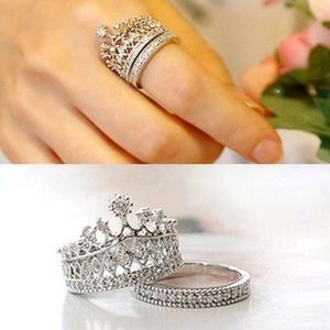 5 for $25 Set of 2 Silver Color Queen Crown Rings